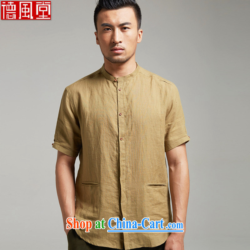 De-tong the dust the Chinese short-sleeve Chinese round-collar casual men's shirts cool breathable China wind 2015 summer the green XXXL