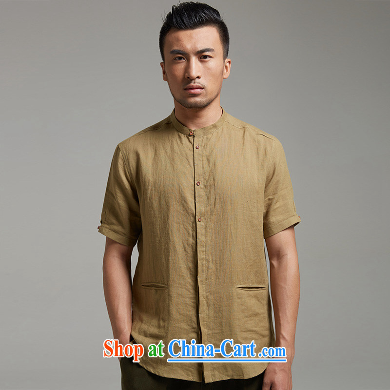 De wind turbine hall the dust the Tang with a short-sleeved Chinese round-collar casual men's shirts cool breathable China wind 2015 summer the green XXXL, de-tong, shopping on the Internet