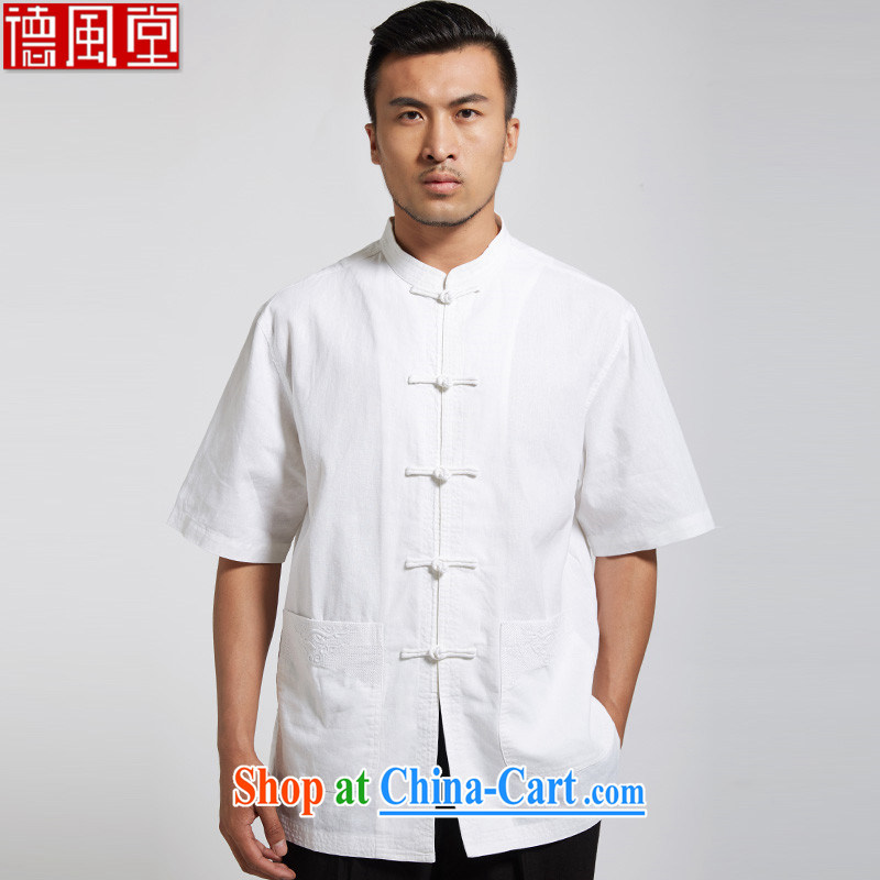 De-tong 100 good cotton Ma Man Tang with white short-sleeved shirt Chinese leisure male Chinese wind 2015 summer white XXXL