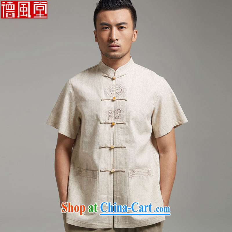 De-Tong Ka Shui Tang replace 2015 summer short-sleeved linen Chinese male-buckle older leisure Chinese wind Cornhusk yellow 4 XL