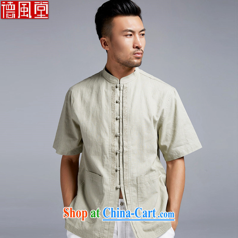 Wind, together with the terrace in summer 2015 short-sleeved cotton the male Chinese Chinese, for cultivating small shirt boutique men's light green XXL