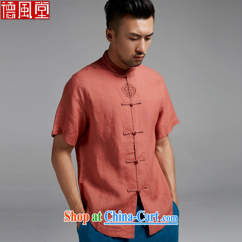 De-Tong Hang Lung linen shirt short-sleeved Chinese New-tie Chinese men are decorated in Chinese style summer 2015 orange red XXXL