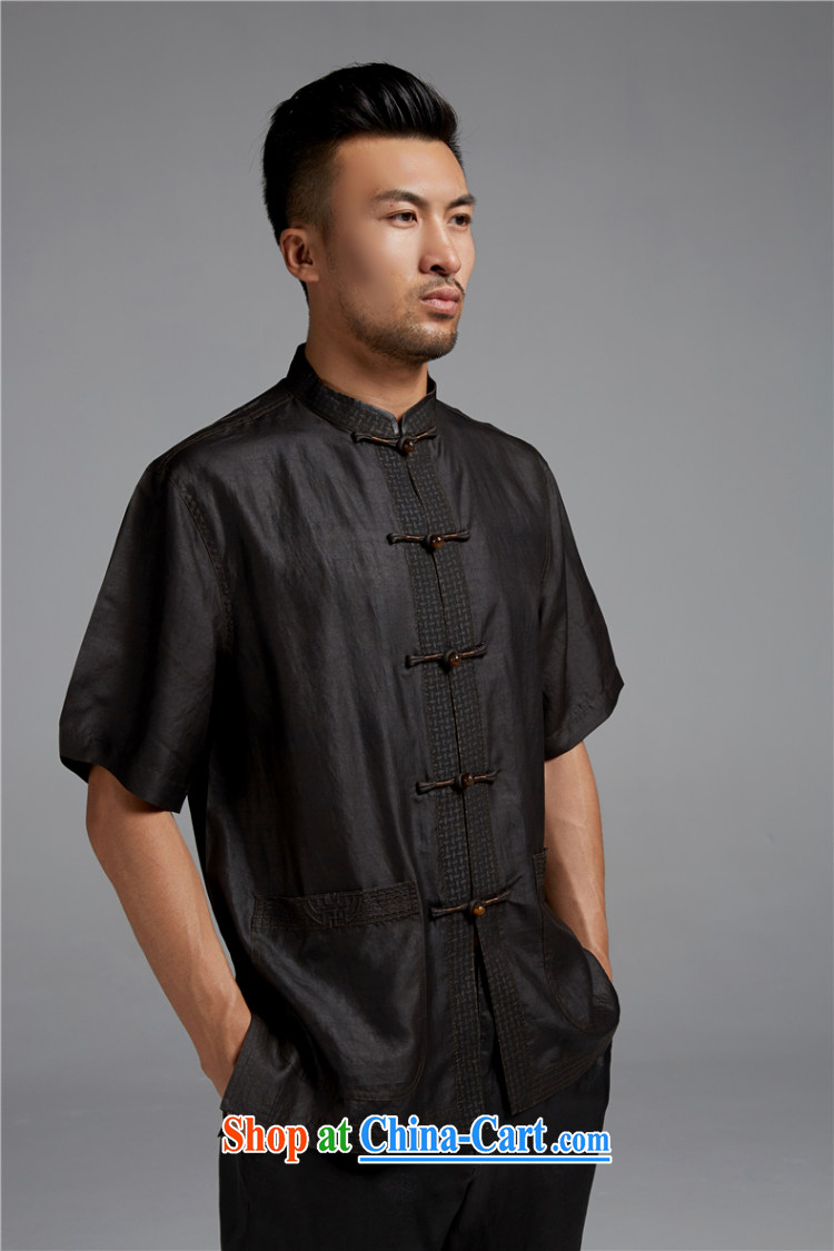 De wind church alone, silk summer 2015 men's Chinese short-sleeved Chinese elderly in shirt China wind male black XXL pictures, price, brand platters! Elections are good character, the national distribution, so why buy now enjoy more preferential! Health