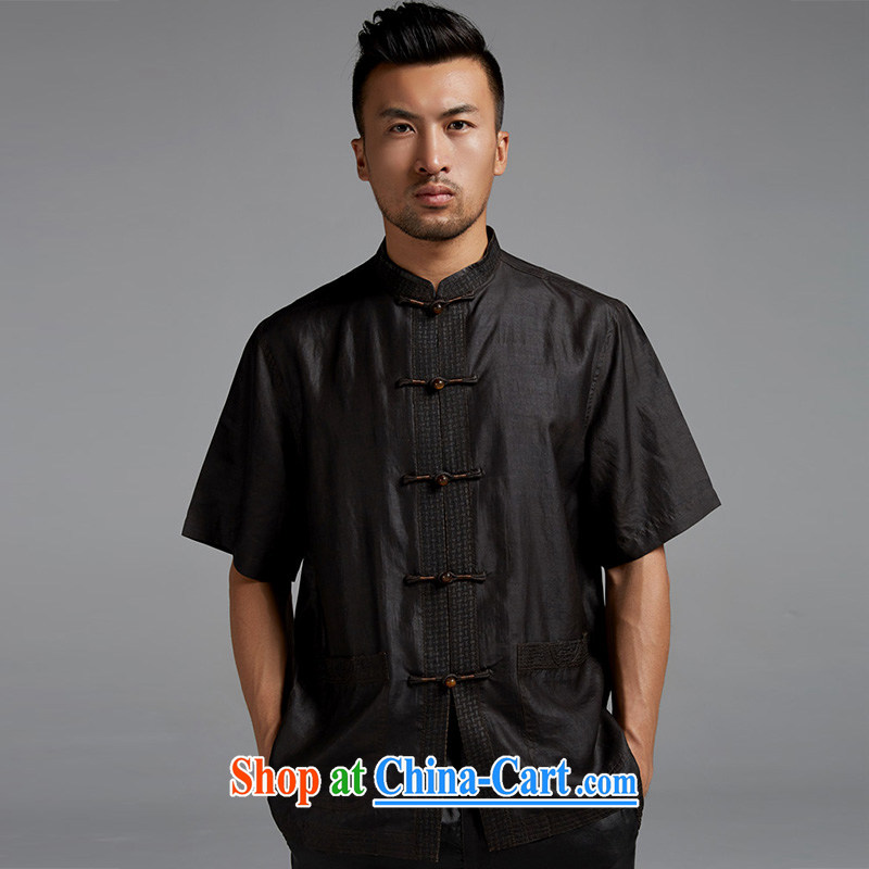 De wind church alone, really, summer 2015 men's Chinese short-sleeved Chinese elderly in shirt China wind male black XXL, wind, and, online shopping