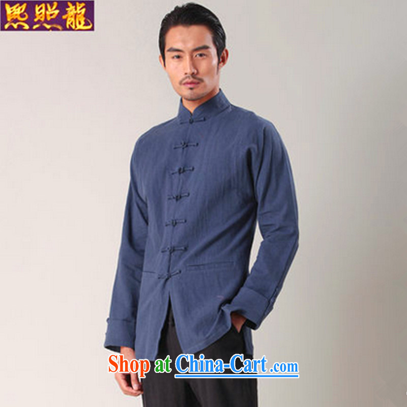 Mr Chau Tak-hay, snapshot men Tang with long-sleeved T-shirt solid T-shirt China wind units, the Commission brought shirt stylish Han-tang and the dark XL, Hee-snapshot lung (XZAOLONG), online shopping