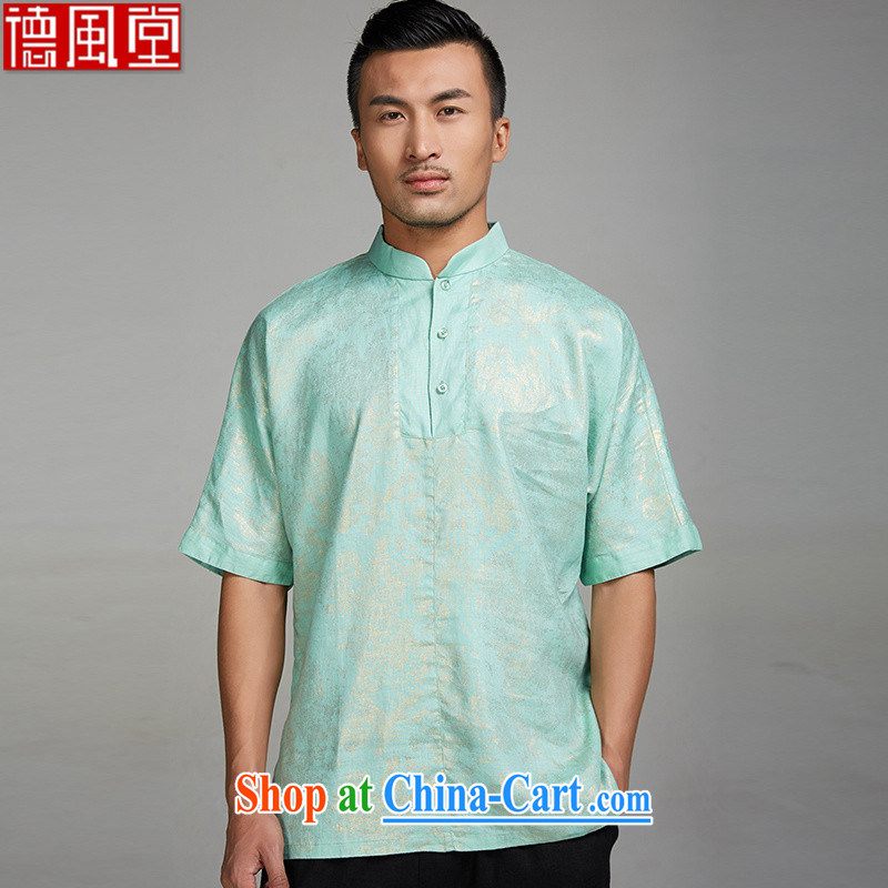 Wind, Kim, 2015, Kim sprinkler linen double-shoulder Tang with male T shirts Chinese summer sweater short-sleeved Chinese style men's clothing Chinese clothing green XL