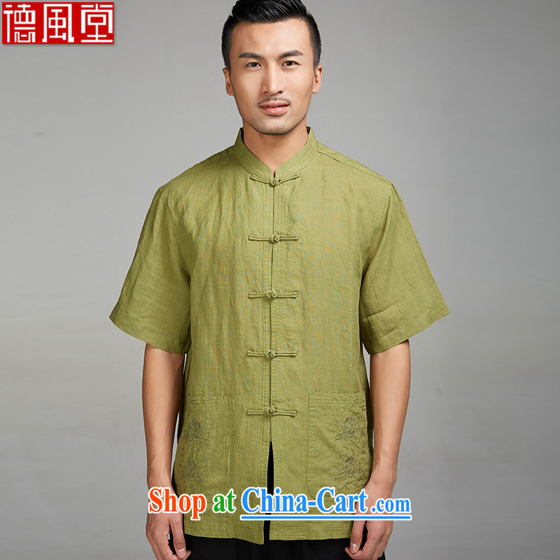 De-tong Yu should be 2015 flax, older men Tang is a short-sleeved shirt embroidery China Summer winds, Chinese clothing yellow and green XXXL