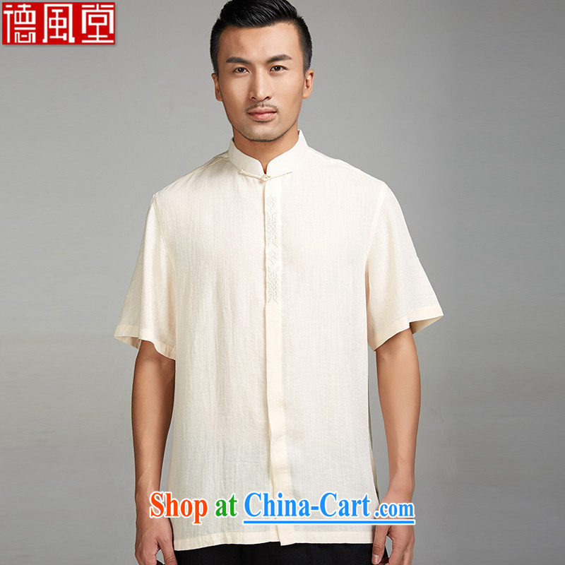 De-Tong Chun?2015 embroidery new Chinese men and summer Chinese short-sleeve shirt China wind male Chinese clothing yellow M