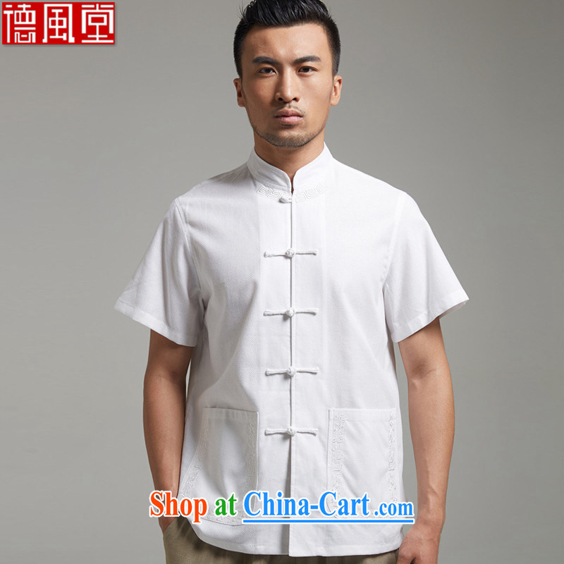 De-tong high energy 2015 Cotton Men's Chinese short-sleeved Chinese Embroidery tray snap shirt chic sober Chinese clothing white 4XL