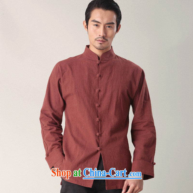 Mr Chau Tak-hay, Snapshot New Men Chinese men's long-sleeved the forklift truck the cotton shirt China wind modern multi-color collar shirt deep red XL