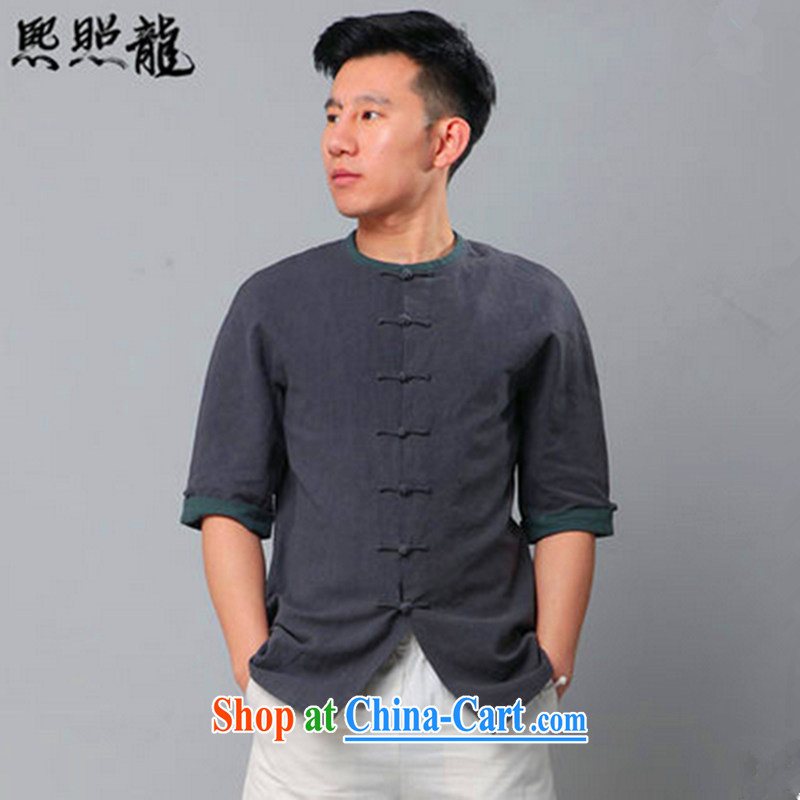 Hee-snapshot Dragon classic New Chinese men's short-sleeved knocked color round-collar short-sleeve cotton shirt the commission China wind dark gray XL