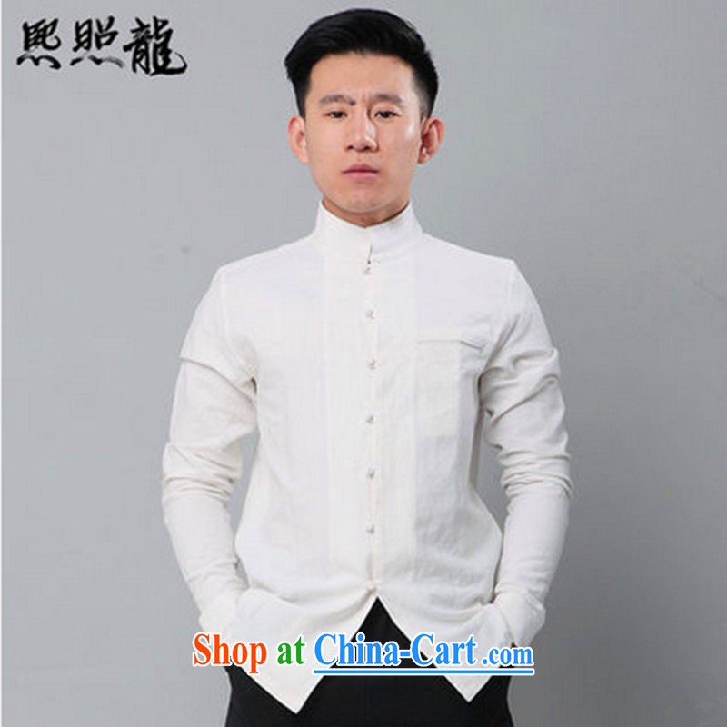 Hee-snapshot, washable cotton Ma China wind stylish Spring and Autumn beauty, men's long-sleeved T-shirt popular men's T-shirt white XL