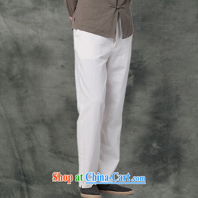 Hee-snapshot Kowloon Yau Ma Tei Cotton Men's casual pants Chinese, sporting a Kung Fu pants and casual loose Tang male white XL