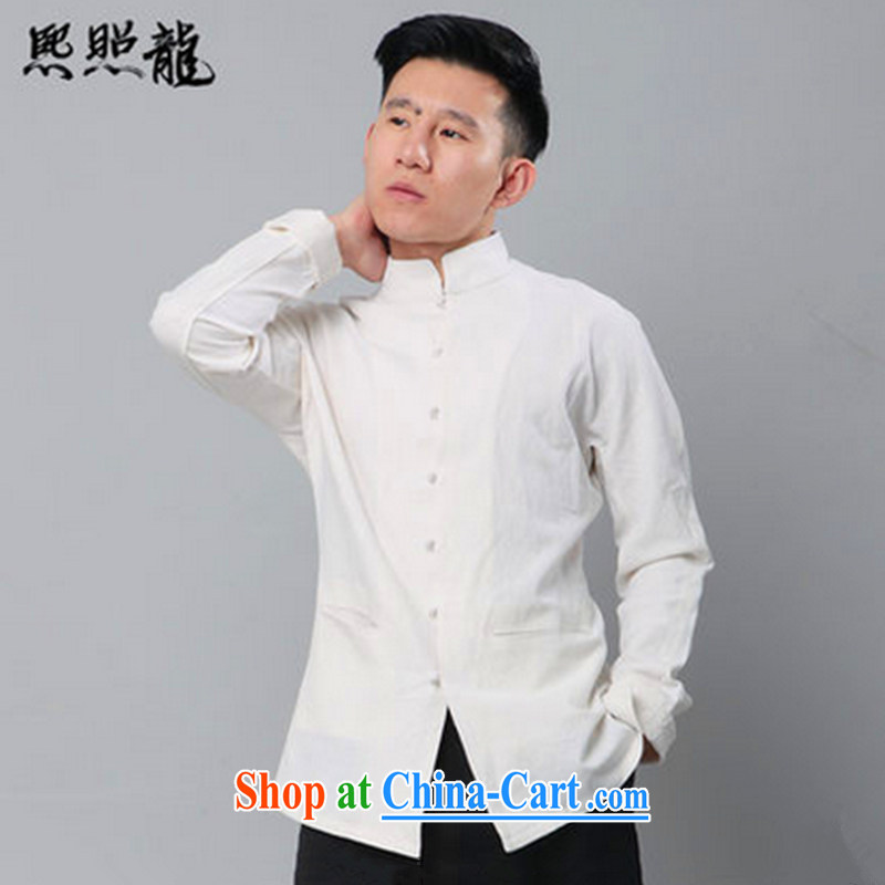 Mr Chau Tak-hay, as new, original unit, the Commission for Chinese men and shirt Chinese double-shoulder cuff National Men's white XL