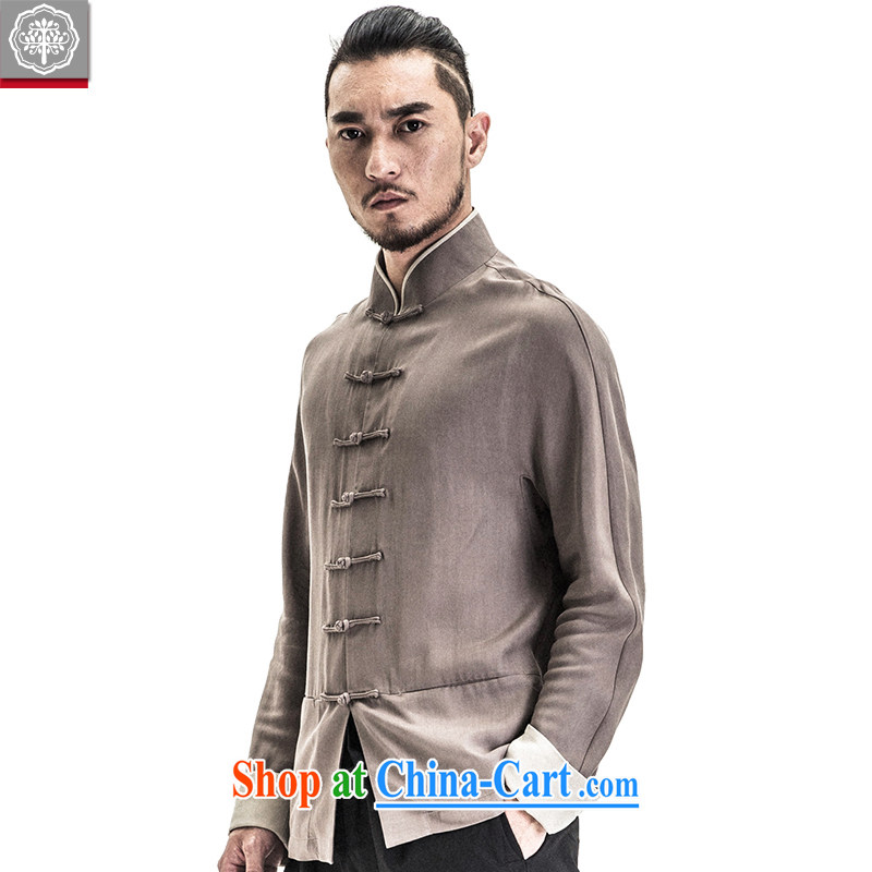 To tree Chinese style Chinese men's long-sleeved jacket cultivating Chinese, who is detained men's spring and summer new withered Gray/M