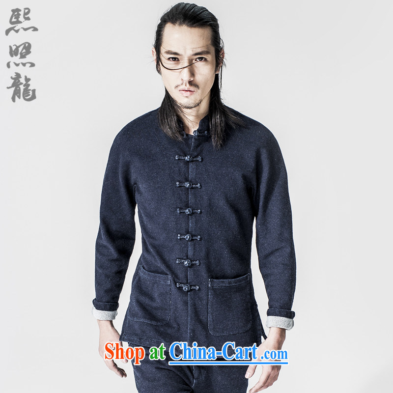 Hee-snapshot Dragon China wind 2015 new, thick jeans and stylish beauty blue jeans Tang jacket coat blue XL