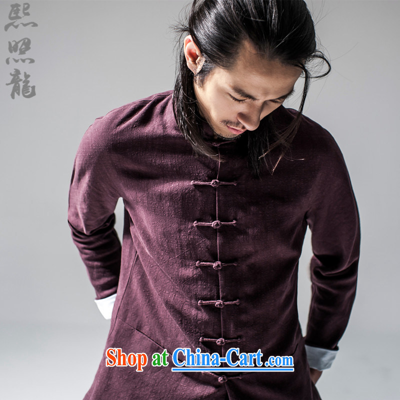 Hee-snapshot Dragon 2015 new Chinese Han-Chinese style Chinese men's jacket Tai Chi uniforms T-shirt Chinese, for men's dark red XL