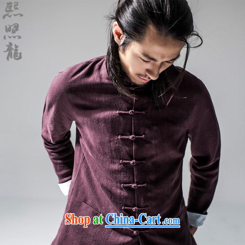 Hee-snapshot Dragon 2015 new Chinese Han-Chinese style Chinese men's jacket Tai Chi uniforms T-shirt Chinese, for men's dark red XL