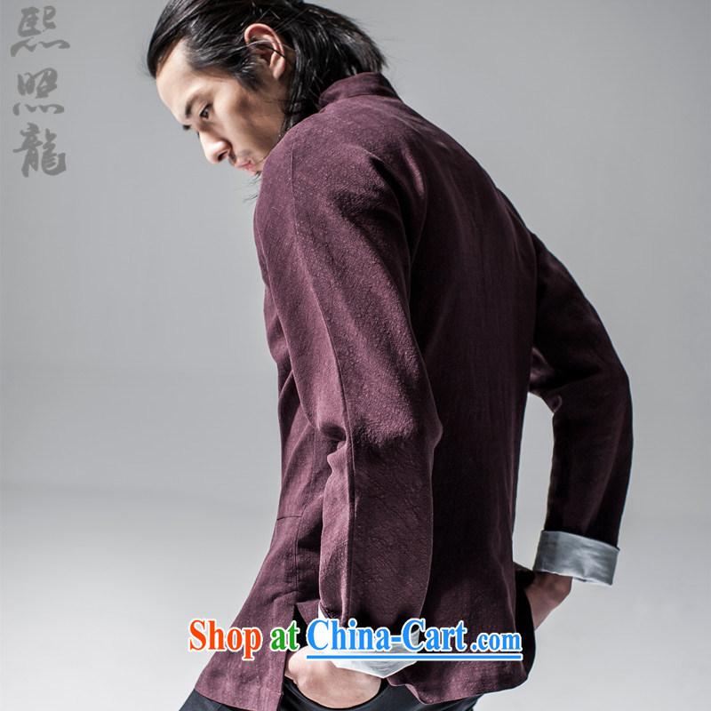 Hee-snapshot Dragon 2015 new Chinese Han-Chinese style Chinese men's jacket Tai Chi uniforms T-shirt Chinese, for men's dark red XL, Hee-snapshot lung (XZAOLONG), online shopping