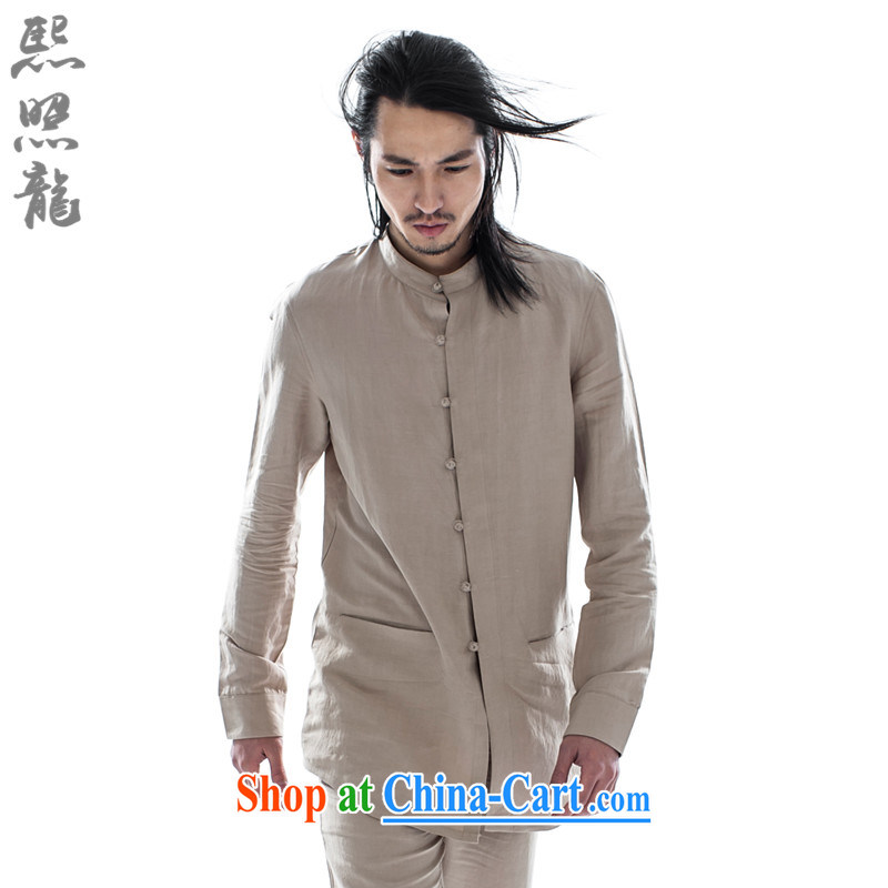 Mr Chau Tak-hay snapshot Dragon 2015 China wind spring New China, shirt collar men's stylish long-sleeved softness Chinese shirt beige XL