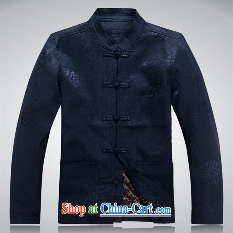 The people more than the Chinese men's middle-aged and older THE LIFE wedding wedding banquet grandpa and Grandma with her father Bok-su 2015 new taxi filial devotion deep blue XXL
