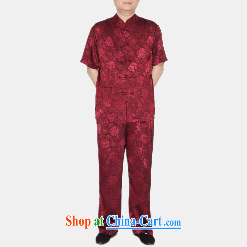 The more people in the older Chinese men's short-sleeved summer Chinese Chinese men linen Chinese Han-Male Red XXL