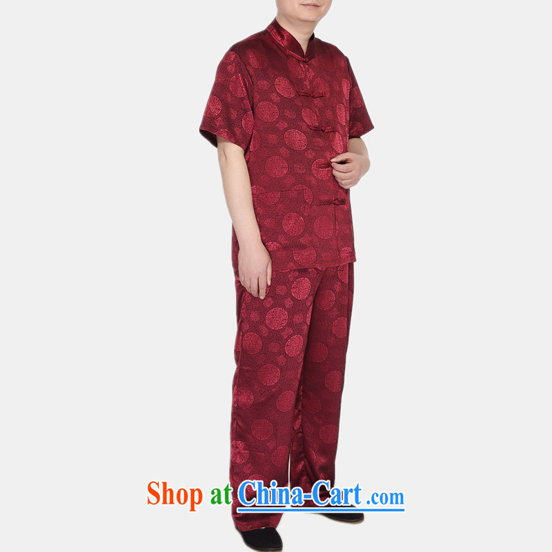The more people in the older Chinese men's short-sleeve summer Chinese Chinese men's linen Chinese Han-Male Red XXL, more people (YIRENDUOGE), online shopping
