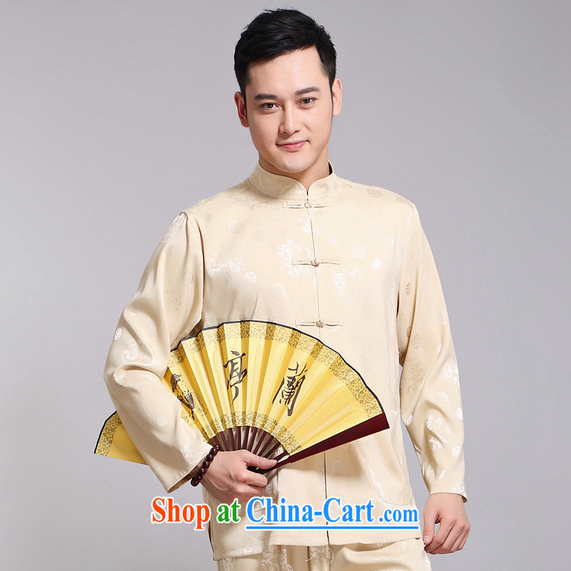 Men's Chinese 2015 spring and summer new thin stamp long-sleeved Tang package installed in older men's exercise clothing Tai Chi Kit Kit 1516 blue 180, JACKE EVIS (JACK EVIS), online shopping