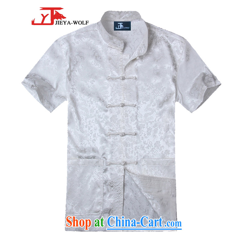 Cheng Kejie, Jacob - Wolf JIEYA - WOLF new Chinese men's short-sleeved summer silk Golden Dragon figure handcrafted Tray Port Tai Chi set, pants white shirt A 185/XXL