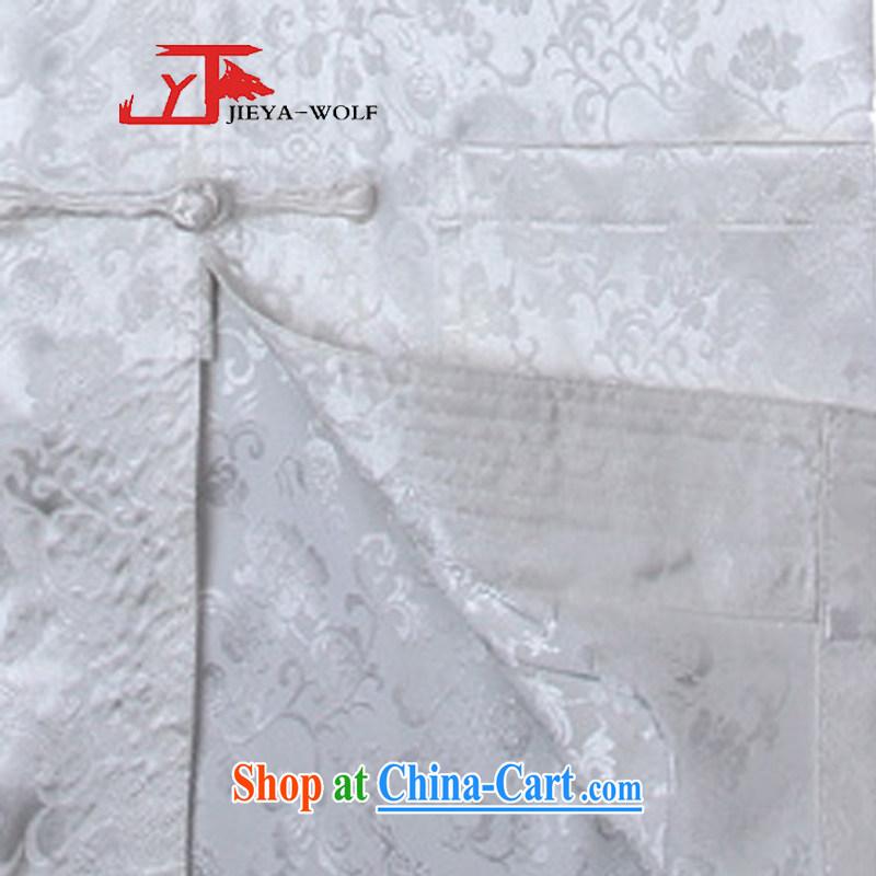Jack And Jacob - Wolf JIEYA - WOLF new Chinese men's short-sleeved summer silk Golden Dragon figure handcrafted Tray Port Tai Chi set, pants white shirt A 185/XXL, JIEYA - WOLF, shopping on the Internet