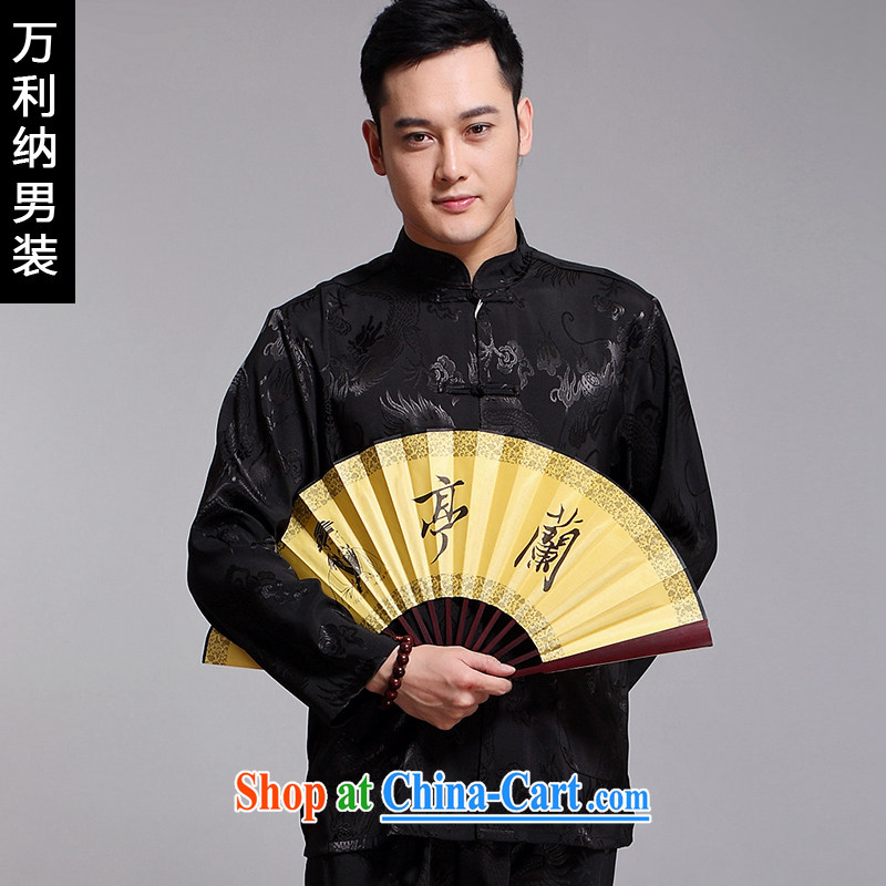 10,000, spring 2015 new male-tang is included in the kit older business and leisure embroidery China wind long-sleeved Chinese W 1519 black 175 (L)