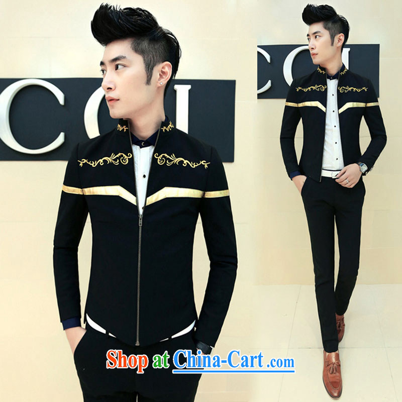 2015 spring new male Korean leisure embroidery, collar jacket XZ 08 black XXL