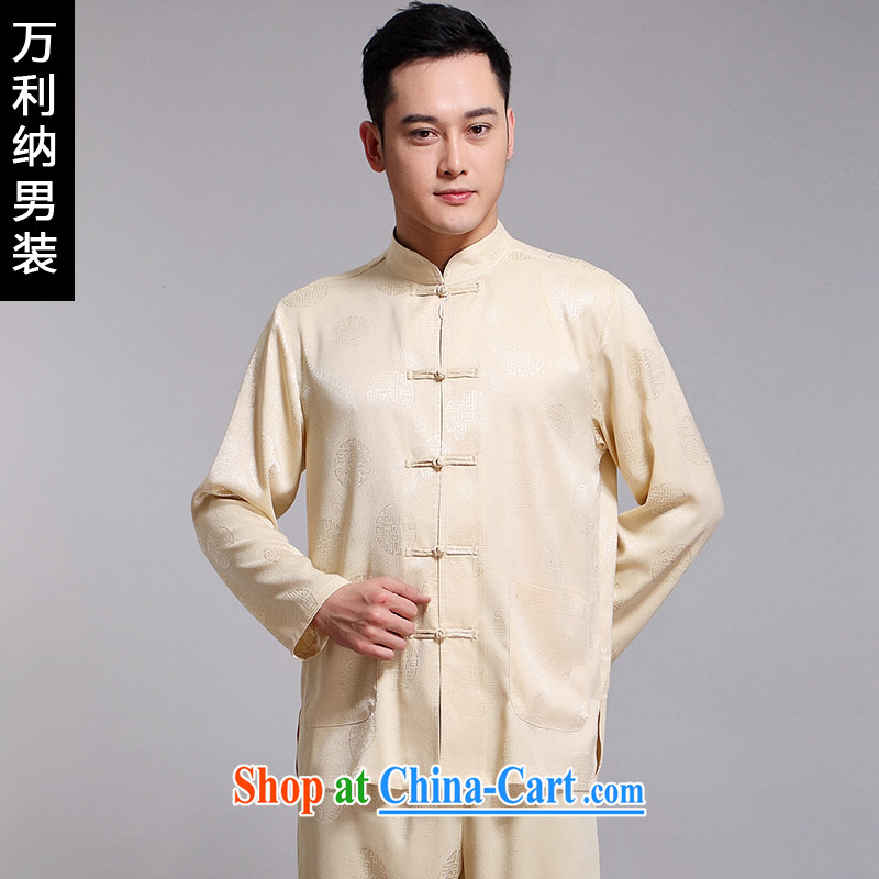 10,000, spring 2015 new in older Chinese men's package China wind up for long-sleeved embroidered Chinese male W 1518 m yellow 175 (XL)