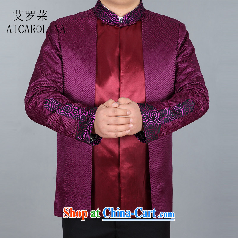 The Carolina boys new spring men's long-sleeved T-shirt is silk scarves double-sleeved jacket purple XXXL