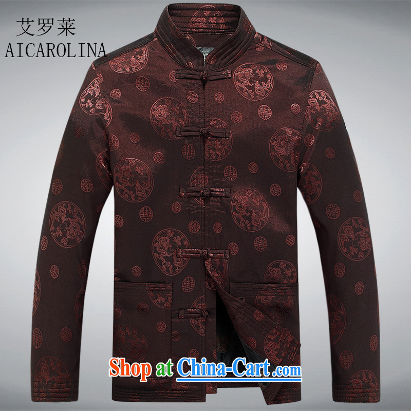 The Carolina boys spring classic long-sleeved jacket Chinese flip cuff-tie middle-aged Chinese men and coffee-colored XXXL