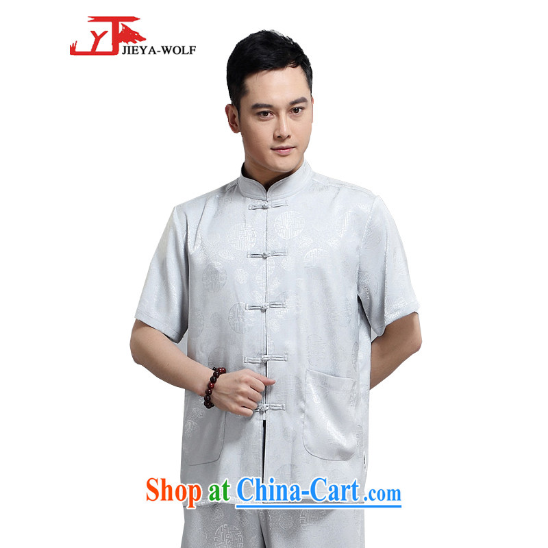 Jack And Jacob - Wolf JIEYA - WOLF new kit Tang with men's short-sleeved advanced silk summer, auspicious 1000 Jubilee figure men Tang replace short-sleeved gray a 180_XL
