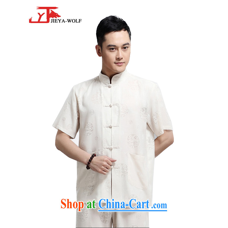 Jack And Jacob - Wolf JIEYA - WOLF new kit Chinese men's short-sleeved advanced thin cotton MA the dragon summer solid color, China wind men with beige 190/XXXL