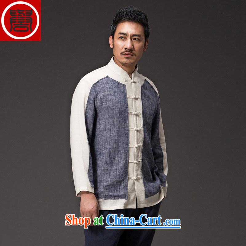 Internationally renowned Chinese wind gown men's linen shirt long-sleeved cultivating Chinese male spring shirt-tie men's T-shirt dark gray large _XL_