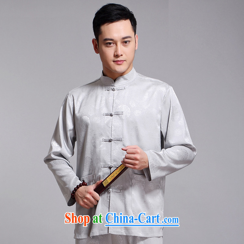 Chinese men's kit 2015 spring and summer new Chinese male, older sauna silk morning Tai Chi 练练功 serving China wind, men's long-sleeved Chinese Tang replace 1518 gray 180