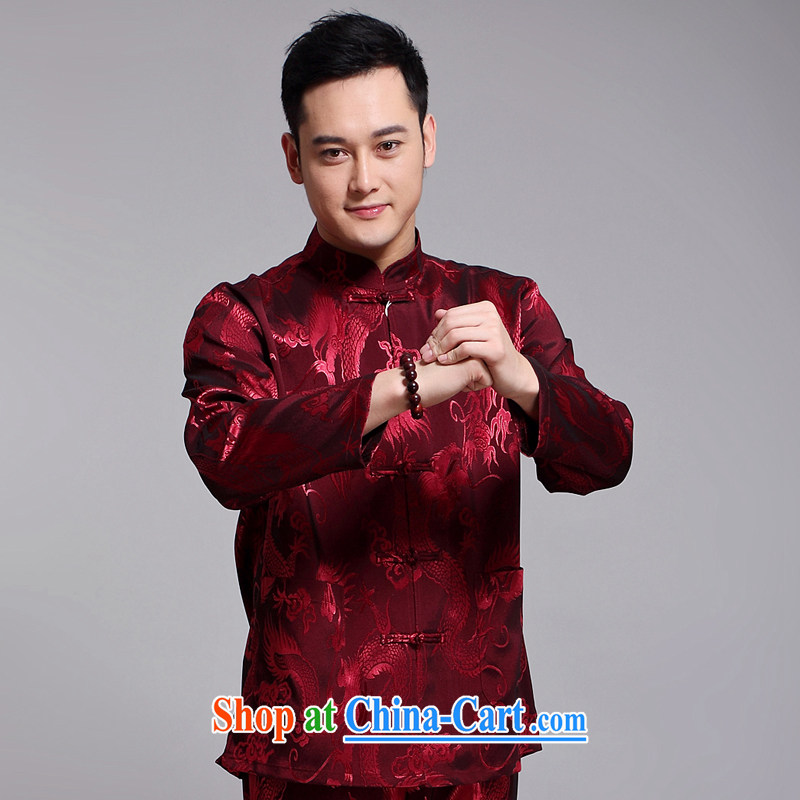 Chinese men's kit 2015 spring and summer new Chinese male, older sauna silk morning Tai Chi ������ serving China wind, men's long-sleeved Chinese Tang replace 1519 red 170