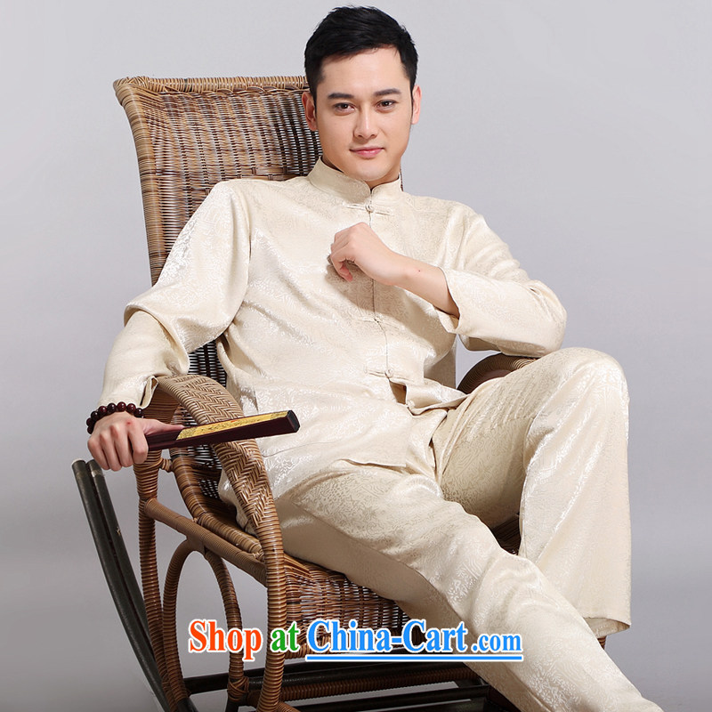 Chinese men's kit 2015 spring and summer new Chinese male, older sauna silk morning Tai Chi 缁冪粌鍔� serving China wind, men's long-sleeved Chinese Tang replace 1512 Wong 190
