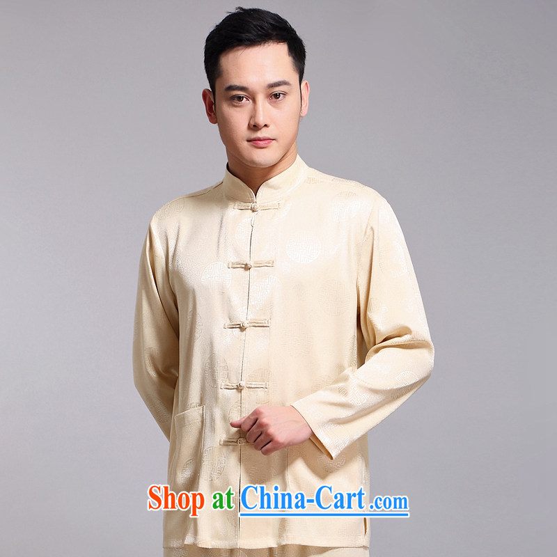 Chinese men's kit 2015 spring and summer new Chinese male, older sauna silk morning Tai 练练功 serving China wind, men's long-sleeved Chinese Tang on 1512 190 Wong, Disney's Prince (CANDYPRINCE), online shopping