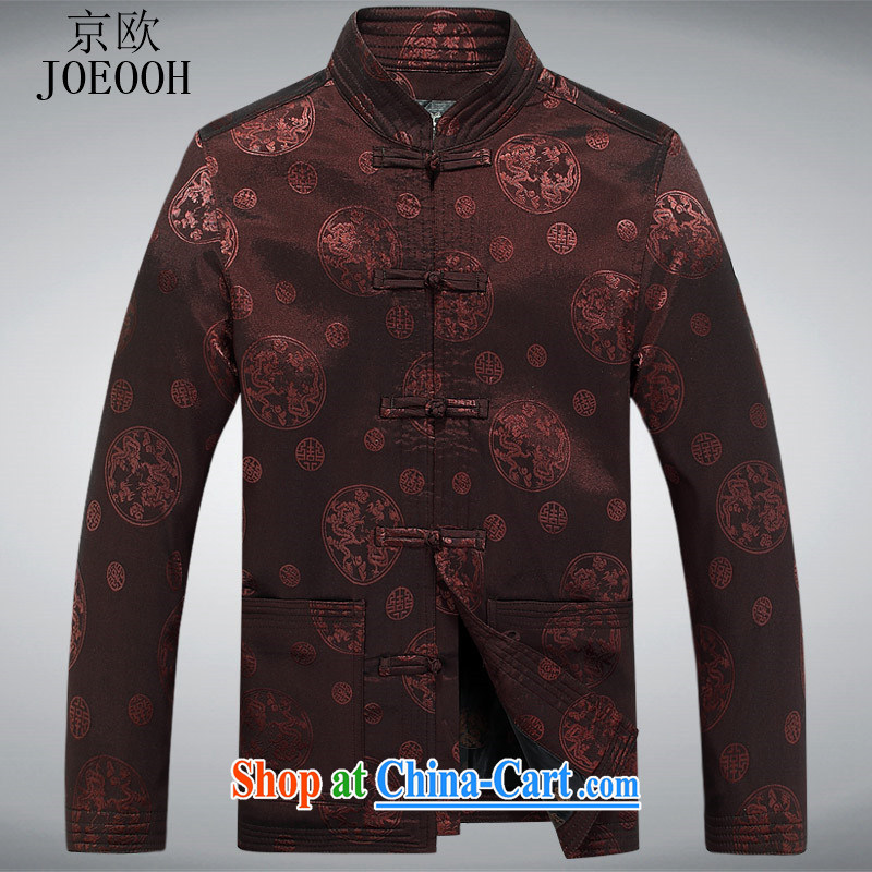 Europe's New Man Tang jackets long-sleeved T-shirt spring birthday banquet wedding, older men and spring clothing and coffee-colored XXXL