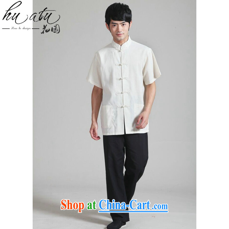 spend the summer with new male Chinese Chinese T-shirt national men's wear uniforms kung fu T-shirt cotton the Chinese short sleeve with black trousers Kit 3 XL