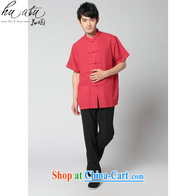 spend the summer with new men's short-sleeved Chinese Tai Chi uniforms used boxing kung fu shirt the howling ghost cotton the soft Satin short sleeve with black trousers Kit 3 XL