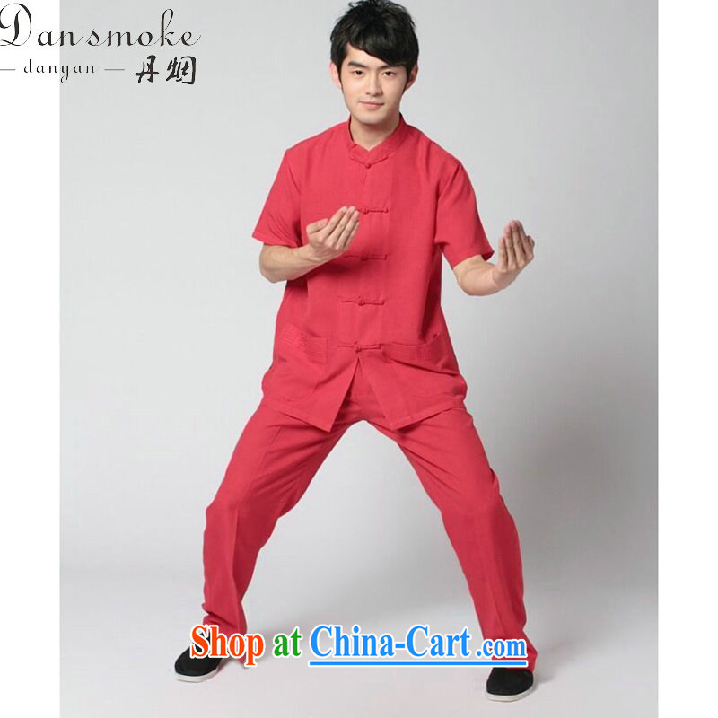Dan smoke summer New Men's short-sleeve Chinese Tai Chi uniforms used boxing kung fu shirt the howling ghost cotton the soft Satin short-sleeve kit wine red kit wine red kit 3 XL