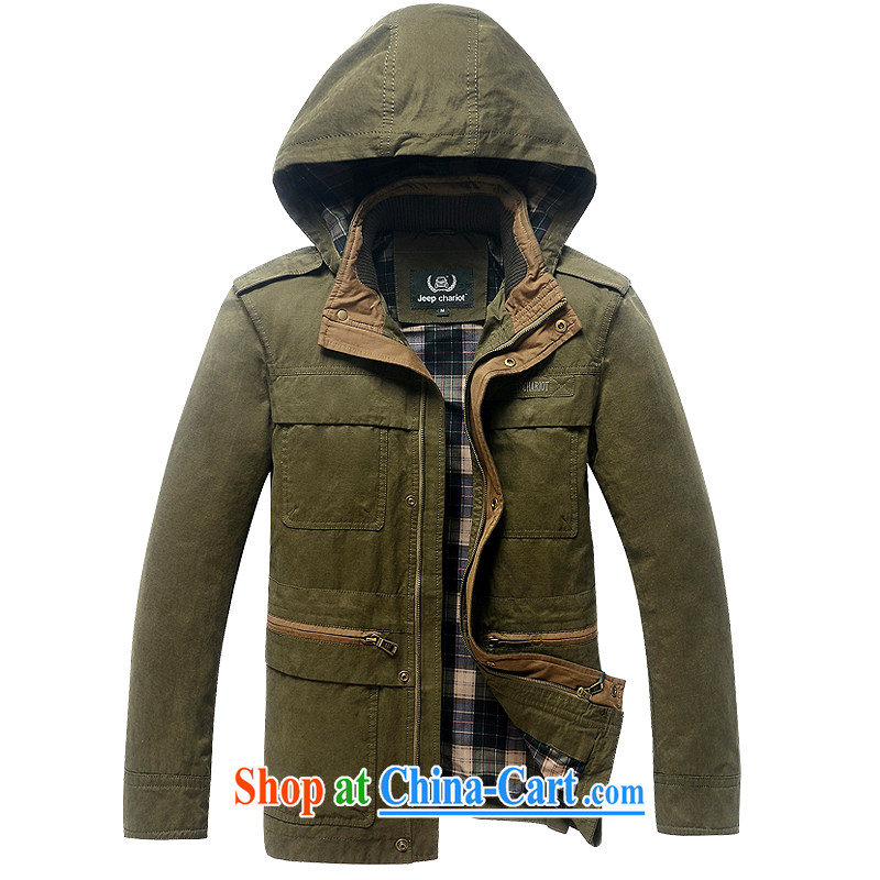 Multi-pocket long windbreaker cotton washable jacket 8529 army green XXXL