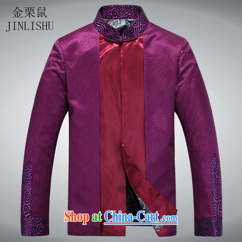 The chestnut mouse New Men Tang with the collar long-sleeved T-shirt clothing China wind Tang with long-sleeved jacket purple XXXL