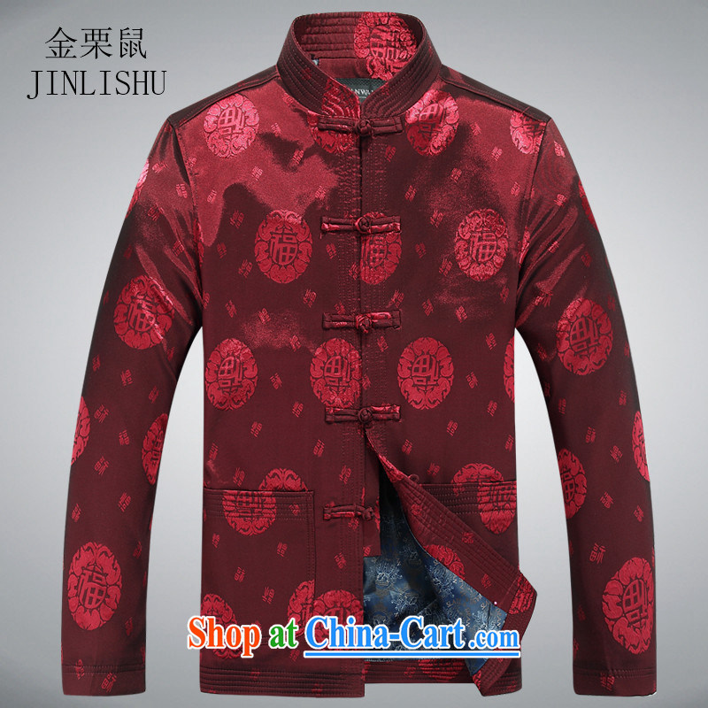 The chestnut mouse China wind spring new men and well field Tang in older long-sleeved jacket T-shirt red XXXL