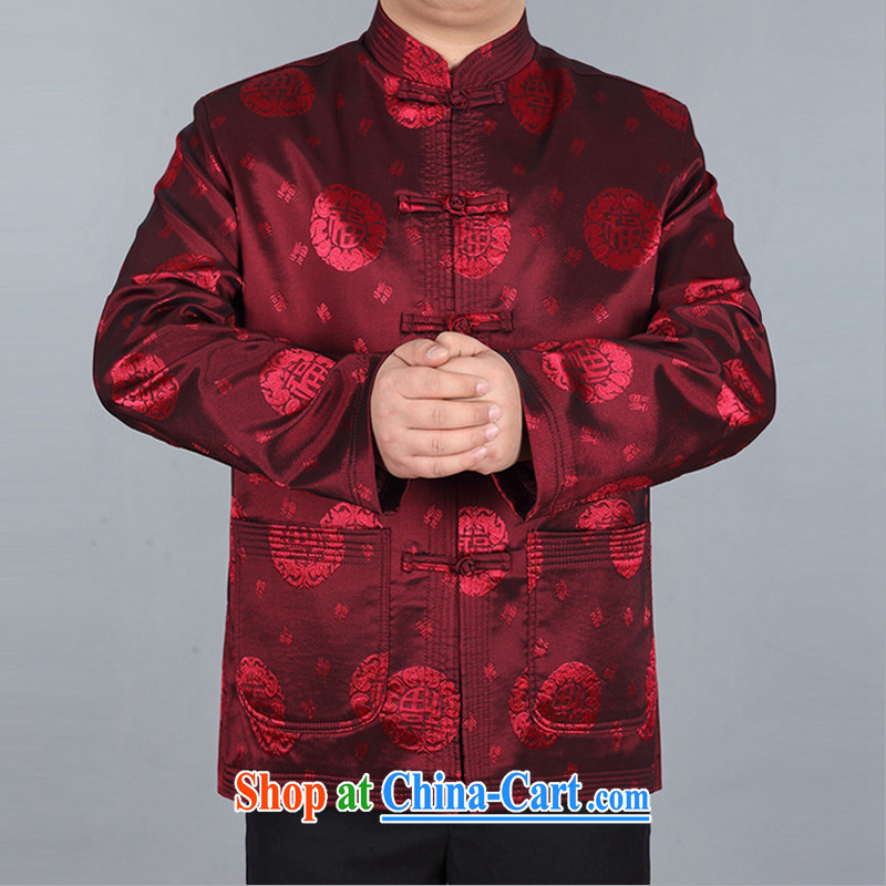 The chestnut mouse China wind spring new men and well field Tang in older long-sleeved jacket T-shirt red XXL
